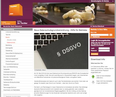 Tischler NRW DSGVO Tipps Downloads
